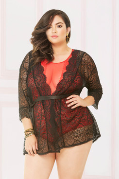 STM-10894X, Sheer Lace Robe