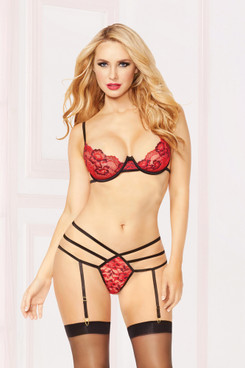 STM-10860, Cross-Dye Lace Bra and Strappy Thong