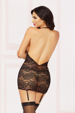 STM-10893, Floral Lace Chemise with Gold Chain
