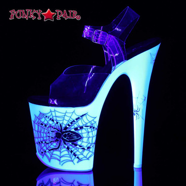 "8"" Blacklight Reactive Spider Dancer Shoes by Pleaser 