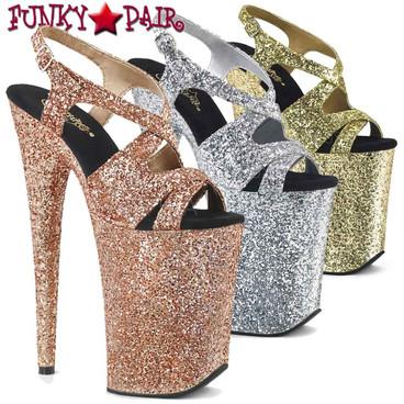 Pleaser | Infinity-930LG, Glitter Slingback Platform Sandal