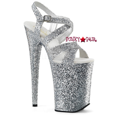 Stripper Shoes Infinity-997LG, 9 Inch High Heel Criss Cross Glitter Strap Sandal
