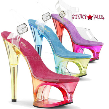 Pleaser Shoes | Moon-708MCT, Cut Out Tint Platform
