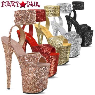 Pleaser | Flamingo-891LG, Wide Ankle Glitter Ankle Strap Platform Sandal | FunkyPair.com