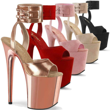 """Flamingo-891, 8"""" Exotic Dancer Heel with Wide Ankle Cuff Sandal by Pleaser"""