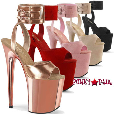 """Pleaser   Flamingo-891, 8"""" Exotic Dancer Heel with Wide Ankle Cuff Sandal"""