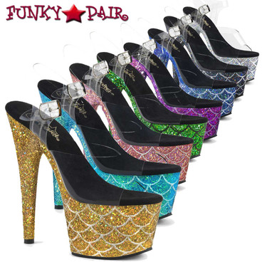 "Pleaser | Adore-708MSLG, 7"" Heel Holographic Glitter Mermaid Scale on Platform"