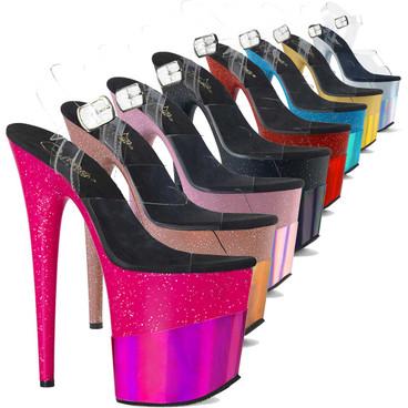 "Flamingo-808-2HGM, 8"" Stripper Glitters Platform by Pleaser USA"