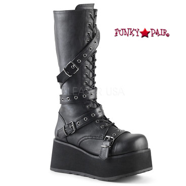 Demonia | Men Trashville-520, 3.25 Inch Platform Lace-up Knee High Boots