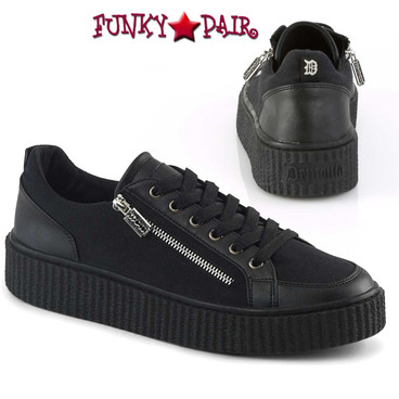 Demonia | Sneeker-105, Men's Metal Zipper Creeper
