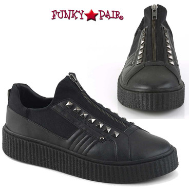 Demonia | Men Sneeker-125, Creeper with Pyramid Stud