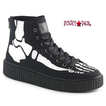 Demonia | Sneeker-252,Men's Xray Bone Print Creeper