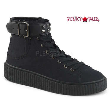 Demonia | Sneeker-255, Men Creeper with Studded Belt Strap