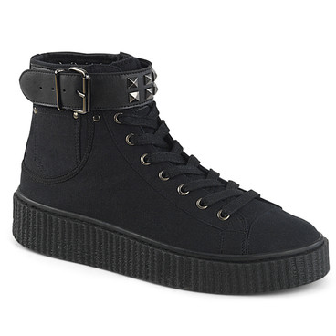 Sneeker-255, 1.5 Inch Platform Creeper Sneaker with Studded Belt Strap