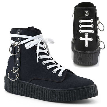 Sneeker-256, 1.5 Inch Platform Creeper Sneaker with White Shoes Laces