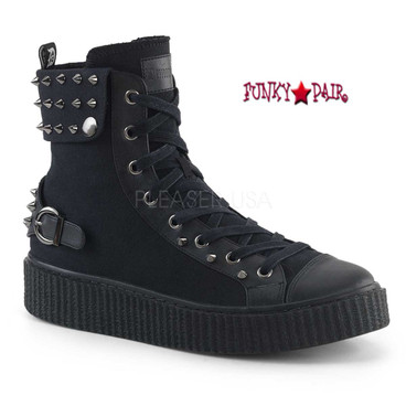 Demonia | Sneeker-266, Men Platform Lace up Creeper