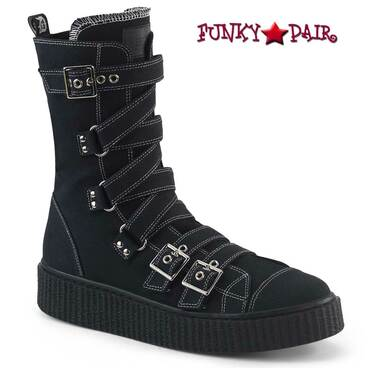 Demonia | Men's Creeper Sneeker-318, Buckles Calf High