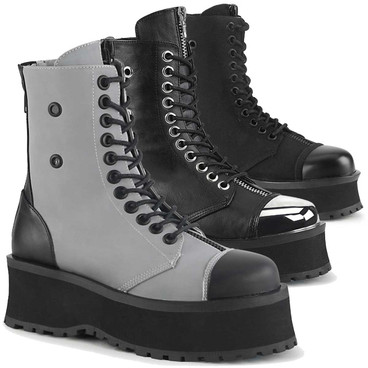 Gravedigger-10 Men's Goth Platform Lace-up Ankle Boots by Demonia