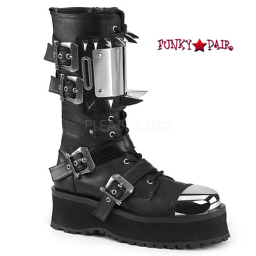 Demonia   Men Gravedigger-250, 2.75 Inch Platform Lace-up Ankle Boots with Silver Chrome Plate