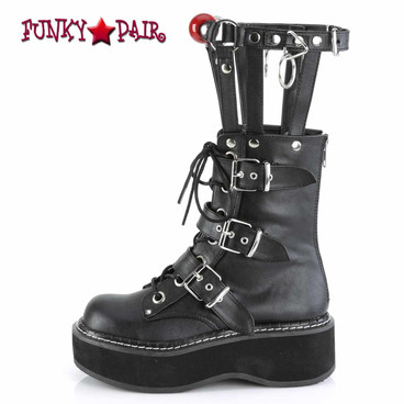 Demonia Emily-355, Punk Cage Style Platform Boots with Red Ball Side View