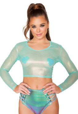 R- 3607, Rave Iridescent Sheer Crop Top by Roma Costume