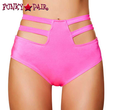 Roma | R-SH3321, High Waisted Strappy Shorts color hot pink front view