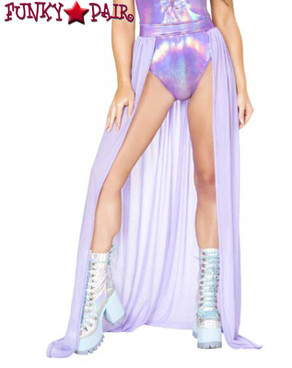Rave Sheer Skirt Open Front | Roma R-3570 color lavender