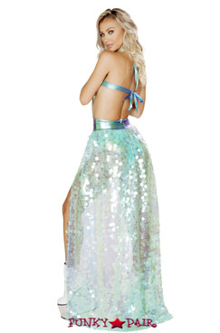 Roma | R- 3568, Rave Iridescent sequin open front skirt. back view