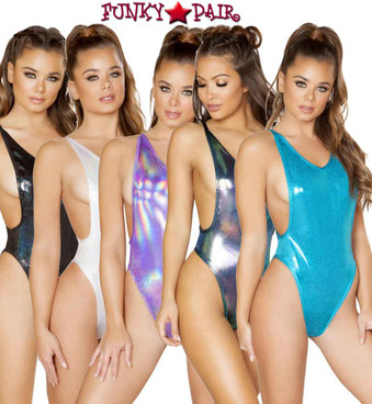 Roma | R- 3549, Rave Low Cut Bodysuit color available: white, black, iridescent blue, purple, turquoise