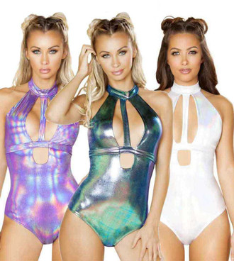 Rave Cut out Romper by Roma Costume R-3560