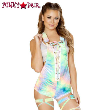 R-3558, Velvet Lace-up Overall Romper color tie dye Green