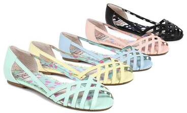 Bettie Page | BP100-Carren, Criss Cross Flat Sandal color available: black, blue, yellow, teal, pink
