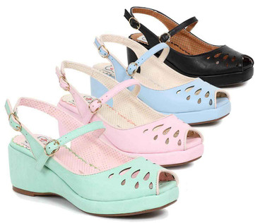 Bettie Page | BP242-Faye, Peep Toe Wedge color available: black, blue, pink, teal