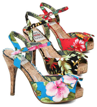 Bettie Page | BP412-Leni, Cork Heel Sandal with Floral Print