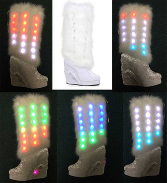 455-Happy, 4 Inch Wedge Lite-up Knee High Fuzz Boots