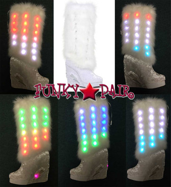 "4"" Rave Lite-up Knee High Fluffy Boots Ellie Shoes 