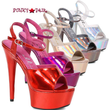 609-Lola, 6 Inch High Heel Sandal with Metallic Platform