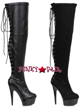 "Ellie Shoes | 609-Fare 6"" Back Lace Thigh High Boots 