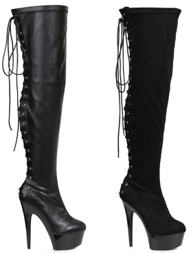"Ellie Shoes | 609-Fare 6"" Back Lace Thigh High Boots color available: black velvet, black faux leather"