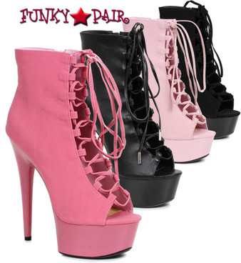 "Ellie Shoes | 609-Reverse 6"" Lace up Ankle Boots Color available: Black Faux Leather, Black Velvet, Fuchsia"
