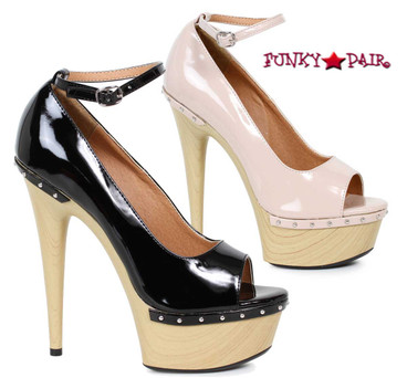 609-Valerie, 6 Inch High Heel Sandal with Wood Platform | FunkyPair.com