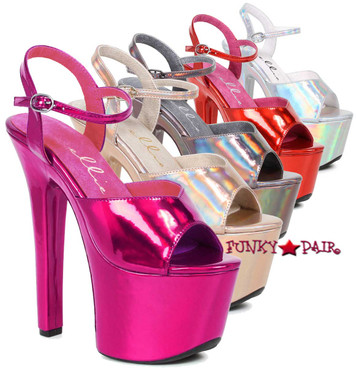 Stipper Heels by Ellie Shoes 711-Lola, 7 Inch High Heel with Metallic Platform Sandal @funkypair.com