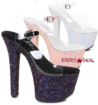 "Ellie Shoes | 711-Serenity 7"" Exotic Dancer Glitter Platform"