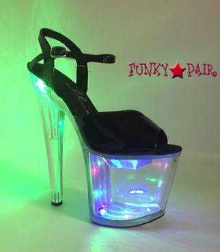 821-Londyn, 8 Inch High Heel Lite up Platform Sandal color clear/black lite on