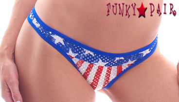 PA181159FG, Patriotic Stars and Stripe Thong