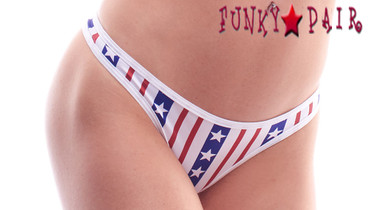 PA181159TT, Patriotic Ticker Tape Print Thong