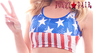 PA181609FG, Patriotic Star Crop Top