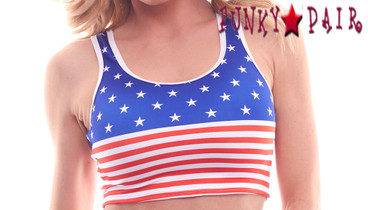 PA18609SS, Patriotic Star and Stripes Crop Top
