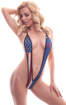PA181802MA, Patriotic Slingshot Dance Wear by BodyZone