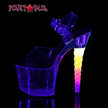 Stripper Shoes Unicorn-708MG, Ombre Unicorn Heel Platform Sandal night view